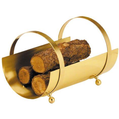 Holzkorb Holzaufbewahrung Messing B / H / T – 50 / 34 / 33cm