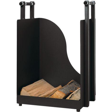 Holzkorb Holzkiste Kaminzubehör Metall schwarz beschichtet optional mit Rollen