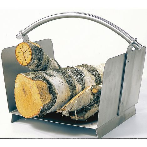 Holzkorb Kaminzubehör Kamingarnitur aus Edelstahl, matt gebürstet