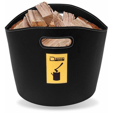 Holzkorb Offenburg aus Kunstleder für Kaminholz Korb Holz