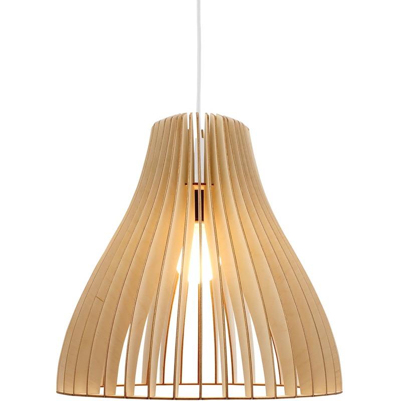 Wodewa - Holzlampe | Nubes | Birkenholz Pendelleuchte | Deckenleuchte Deckenlampe Pendelleuchte Nubes - Natur