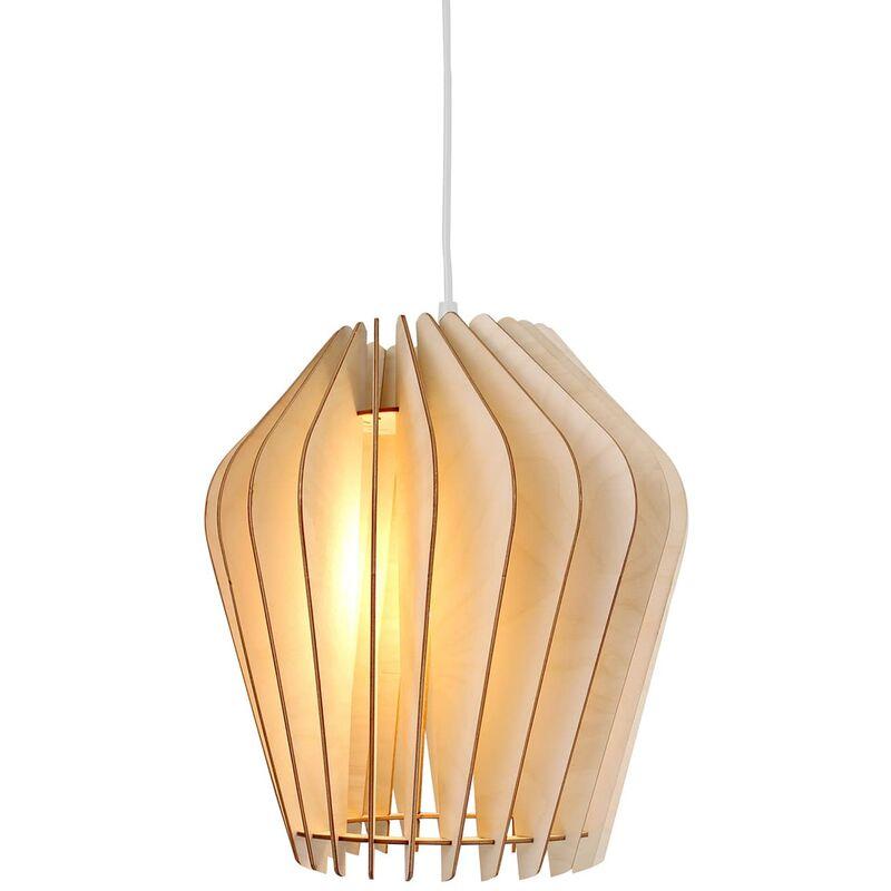 Wodewa - Holzlampe | Solis | Birkenholz Pendelleuchte | Deckenleuchte Deckenlampe Pendelleuchte Solis - Natur