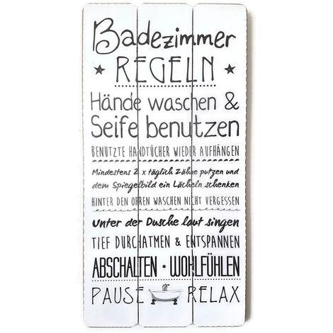 Holzschild Badezimmer Familienregeln 60x30cm Wandschild