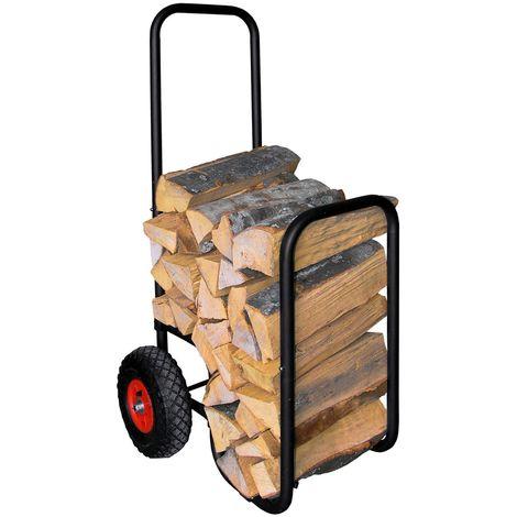 Holzwagen, Kaminholzwagen, Brennholzwagen, Holzkorb mit Gummireifen- schwarz