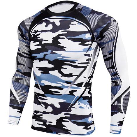 """main image of """"Hombres Camisas de manga larga O-cuello Raglan Impreso Elastico Camisetas deportivas de secado rapido Correr Atletas Tops casuales"""""""