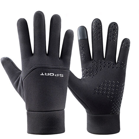 Hombres Mujeres Winter guantes calientes antideslizante pantalla tactil Guantes impermeables a prueba de viento de esqui Guantes termicos para correr al aire libre Ciclismo, L