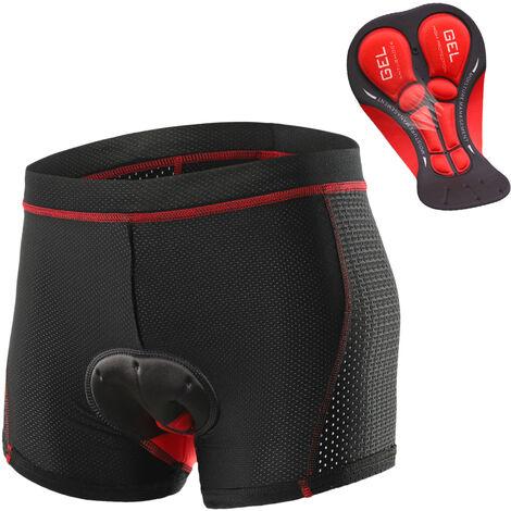 Hombres Pantalones cortos Ropa de ciclo respirable Sub-gel acolchado Mtb Velo D'Montar Pantalones cortos, Rojo, S