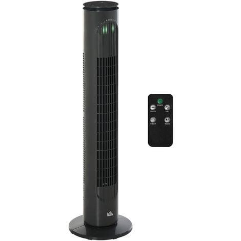 HOMCOM 10 Hour Freestanding Tower Fan 3 Speeds Moving w/ LED Panel Grey