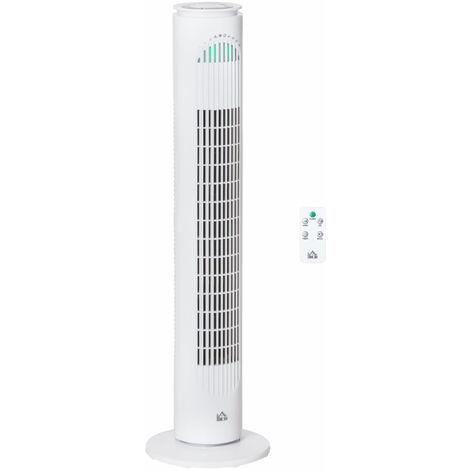 HOMCOM 10 Hour Freestanding Tower Fan 3 Speeds Moving w/ LED Panel White