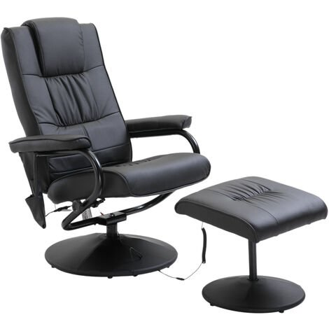 HOMCOM 10 Point PU Leather Electric Massage Recliner & Foot Stool Massager
