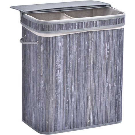 HOMCOM 100L Bamboo Laundry Basket w/ Split Compartment Lid Removable Lining Grey