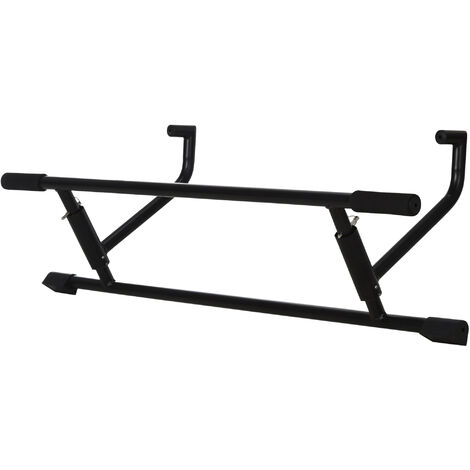 HOMCOM 102cm Home Pull Up Bar Door Frame Exercise Metal Foam Handle Exercise Black