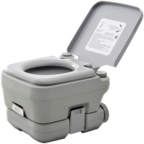 HOMCOM 10L Portable Travel Toilet Outdoor Camping Picnic w/ 2 Detachable Tanks