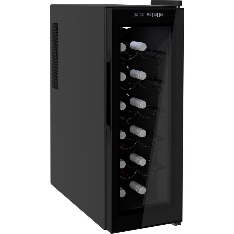 Image of 11-18°C 12 Bottle Wine Cooler Mini Refrigerator Touch Control Led Lights - Homcom