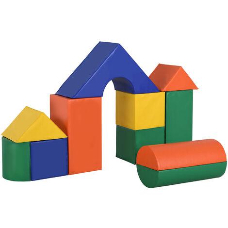 HOMCOM 11-Pcs Kids Soft Foam Play Blocks PU Cover Toy Building Set Learning