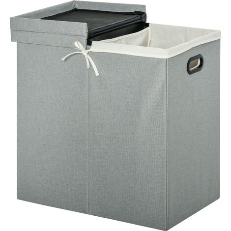 HOMCOM 115L 2-Section Linen Folding Laundry Basket Hamper Bin w/ 2 Lid Handles Grey