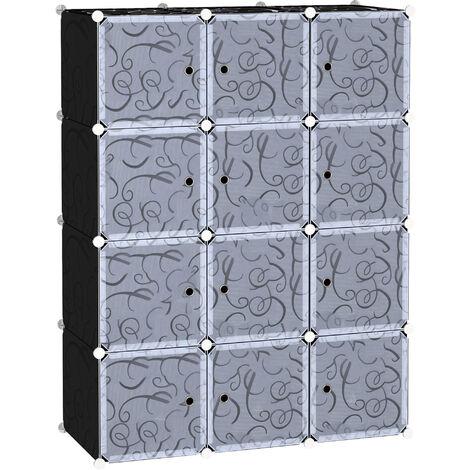 HOMCOM 12 Cube Wardrobe Portable Interlocking Plastic Clothes Organiser Storage