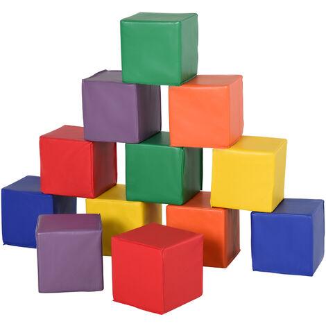 HOMCOM 12 PCs Kids Soft Play Blocks Soft Foam Toy Building Stacking Fun