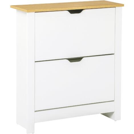 HOMCOM 12-Shoe Storage Cabinet 4 Shelves 2 Drawers Tabletop 4 Legs Modern White