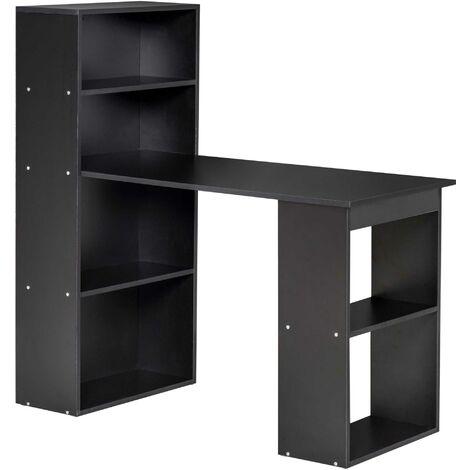 HOMCOM 120cm Modern Computer Desk Bookshelf Writing Table 6 Shelves Black