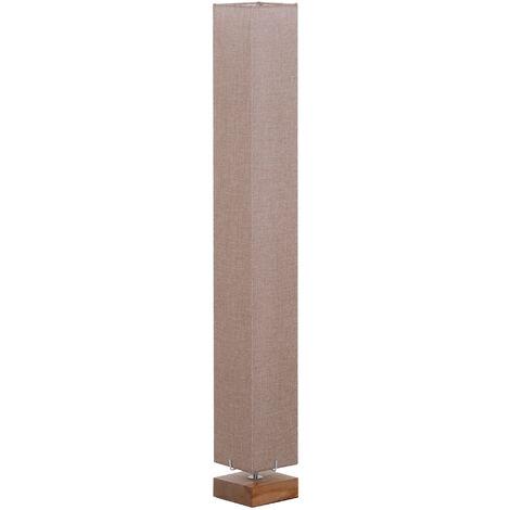 HOMCOM 120cm Tall Linen Floor Lamp Wood Base Steel Frame Stylish Home Lighting