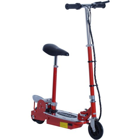 HOMCOM 120W Teens Foldable E-Scooter Kids Electric Scooters 24V Rechargeable Battery Adjustable Ride on Outdoor Toy (Red)