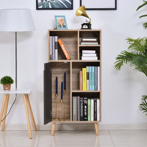 """main image of """"HOMCOM 121x60 Freestanding Storage Cabinet 4 Legs 5 Compartments Furniture Grey"""""""