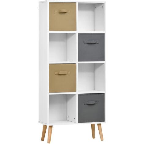 HOMCOM 123x55cm Freestanding 8 Cube Storage Cabinet Unit w/ 4 Drawers