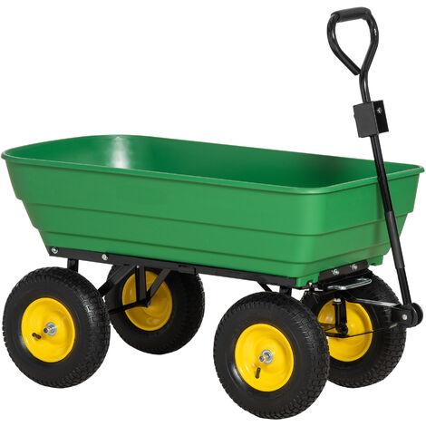 Homcom 125 litres Large Garden Cart Heavy Duty 4 Wheel Trolley Dump Wheelbarrow Tipper Trailer Tipping Truck