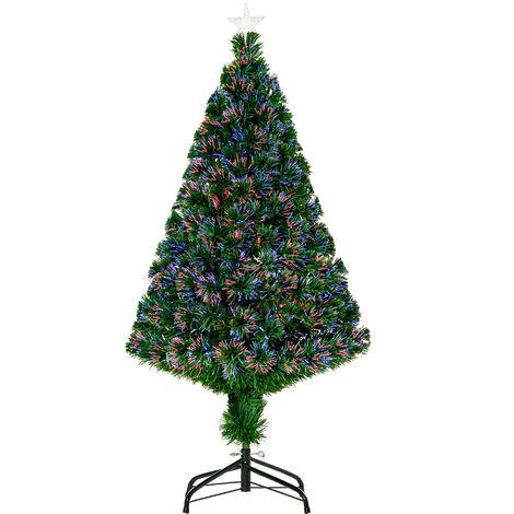 HOMCOM 1.2m 4ft Pre-Lit Fiber Optic Christmas Tree Artificial Holiday Décor Colourful LED Lights Metal Stand