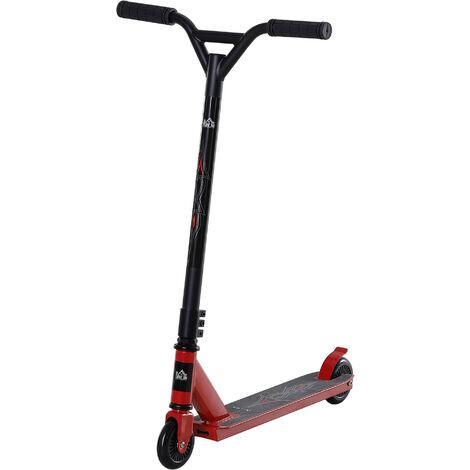 HOMCOM 14 Yrs+ Stunt Scooter Manual Wheels Vehicle Trick Kick Travel Red