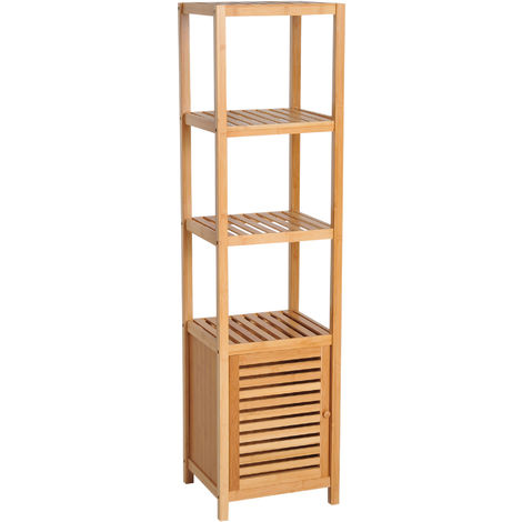 HOMCOM 140cm Bamboo Storage Unit Freestanding Cabinet w/ 3 Shelves Cupboard