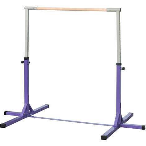 "main image of ""HOMCOM 145cm Kids Adjustable Gymnastics Horizontal Bar Steel Frame Purple"""