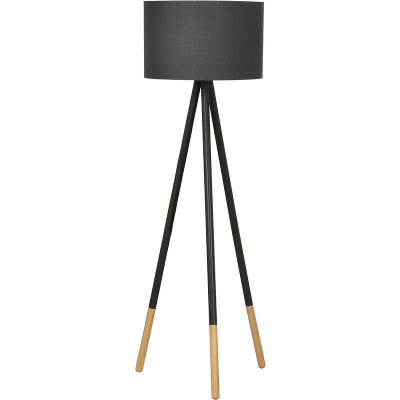 Image of 153cm Tripod Floor Lamp Light w/ Fabric Lampshade Power Switch Grey - Homcom