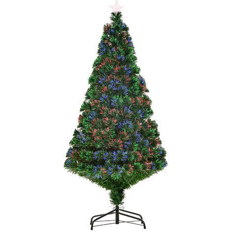 HOMCOM 1.5m 5ft Pre-Lit Fiber Optic Christmas Tree Artificial Holiday Décor Colourful Lights Metal Base