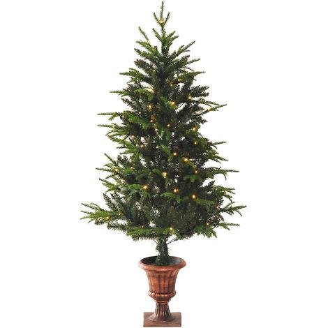 HOMCOM 1.5m Spruce Entrance Christmas Tree Artificial Holiday Décor Xmas Colourful Lights Vase Base
