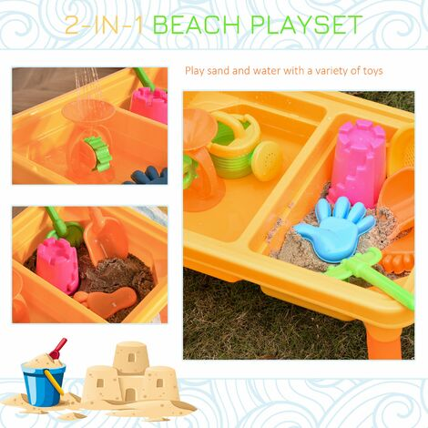 HOMCOM 16 Pcs Sand & Water Play Table Beach Creative Toy Set Outdoor Activity