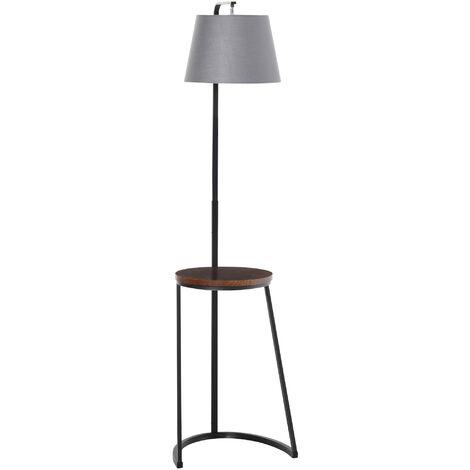 HOMCOM 165cm Unique Floor Lamp & Middle Wood Shelf Industrial Style Brown Black
