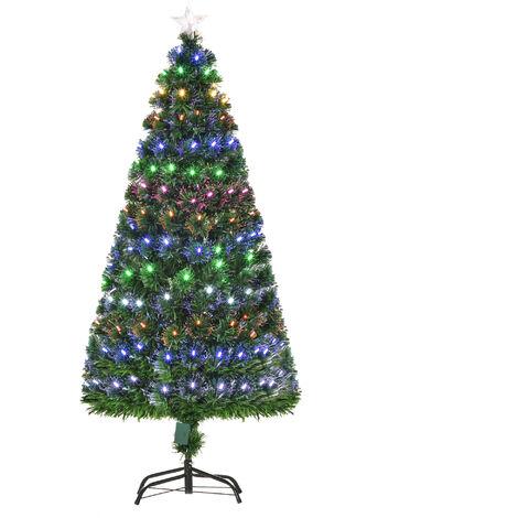 HOMCOM 170 Branch 150CM Pre-Lit Fiber Optic Christmas Tree LED Lights
