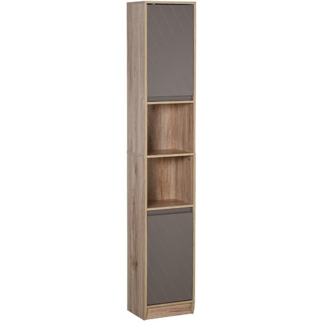 HOMCOm 170cm Freestanding Storage Cabinet Slimline Unit w/ 2 Cupboards 2 Shelves