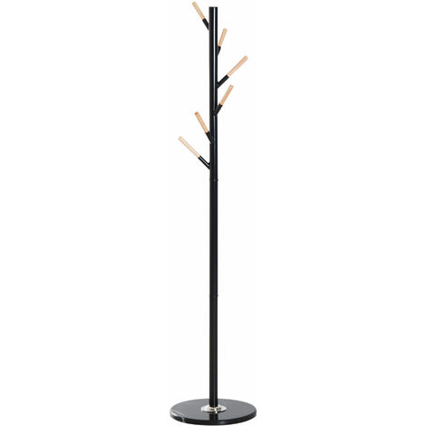 HOMCOM 174cm Free Standing Metal Coat Rack Stand with Marble Base 6 Hooks - Black