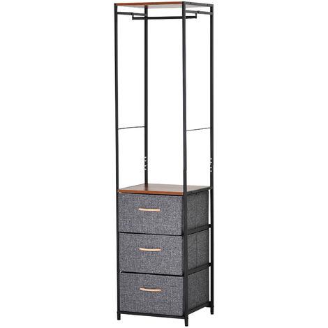 HOMCOM 175x43cm Freestanding Clothes Hanger Storage Steel Frame 3 Drawers Shelf