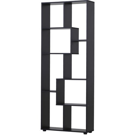 HOMCOM 178cm 8-Shelf Bookcase w/ Melamine Surface Foot Pads Anti-Tip Black
