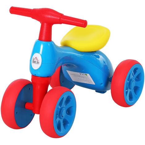HOMCOM 18-36M Balance Bike Training w/ Rubber Wheels Toy Bin Multicoloured