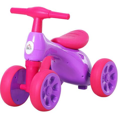 HOMCOM 18-36M Balance Bike Training w/ Rubber Wheels Toy Bin Pink Purple