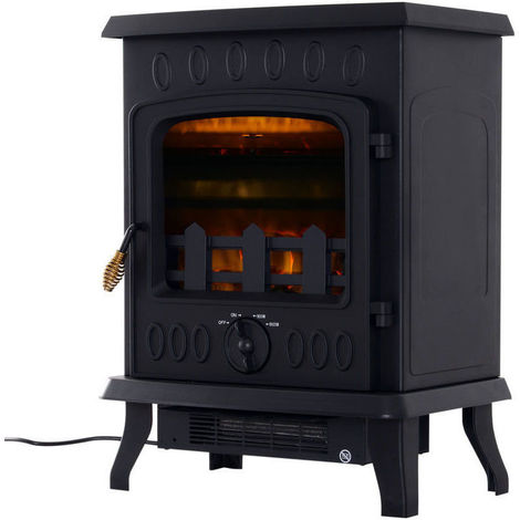HOMCOM 1800W Freestanding Electric Fireplace Indoor Heater Stove LED Burning Effect Flame