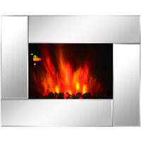 HOMCOM 1800W Wall Mounted Electric Fireplace Heater 7 Coloured LED Lighting