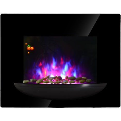 HOMCOM 1800W Wall Mounted Electric Fireplace Heater Flame Heat 7 Coloured LED Lighting Glass View Home Office Thermostat Control