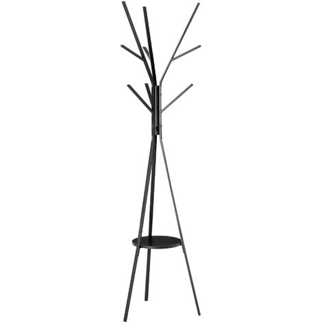 HOMCOM 180cm Free Standing Metal Coat Rack Stand 9 Hooks Clothes Tree with 1 Shelf - Black