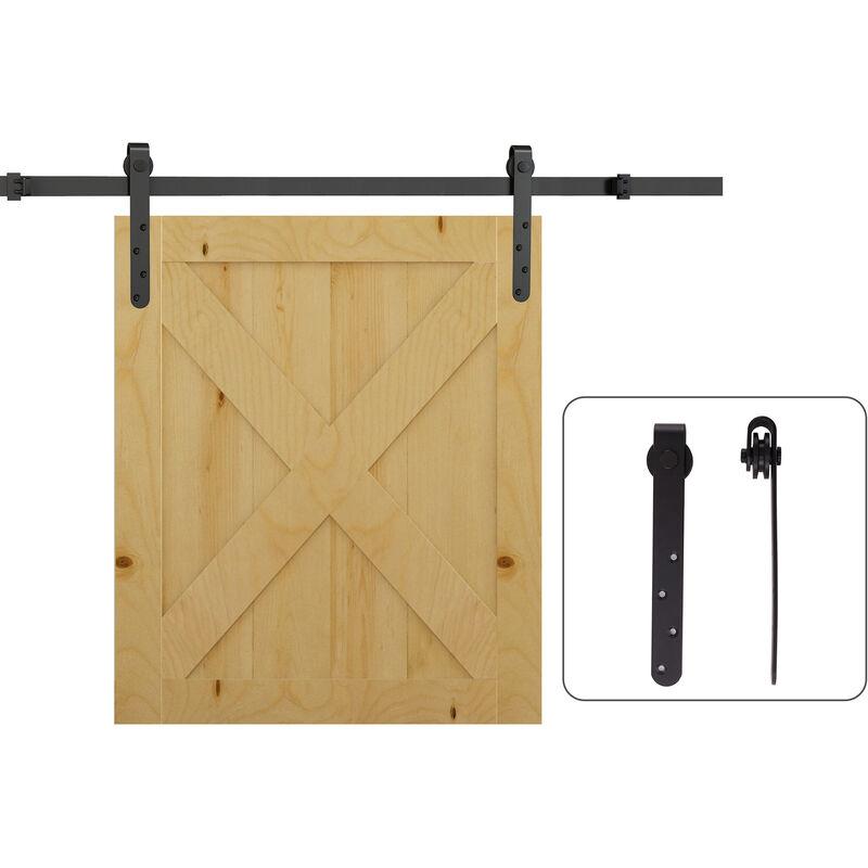 Image of 180cm Sliding Track Steel Barn Wood Door Hardware Kit Cabinet Closet Hanger - Homcom
